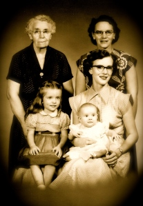Sadie Hendrix Morgan, Lucille Morgan Saulsbury, Jean Saulsbury McTygue Barbara McTygue Scanlon and Sharlene McTygue Larson