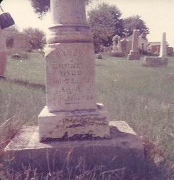 Nancy Bruner my GGG Grandmother's headstone in the Veale Creek Baptist Church Cemetery in Daviess County Indiana.