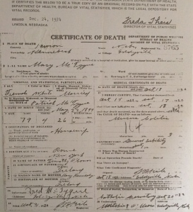 Mary O'Connor McTygue's death certificate from 1922