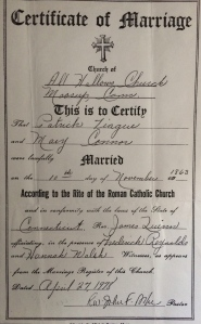 Patrick McTyuge & Mary O'Connor marriage record.